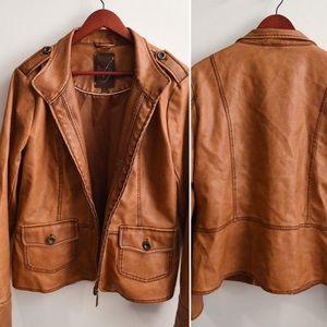 Jackets & Blazers - Cognac leather looking XL jacket